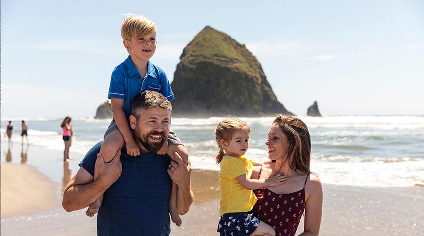 Family at Haystack Rock