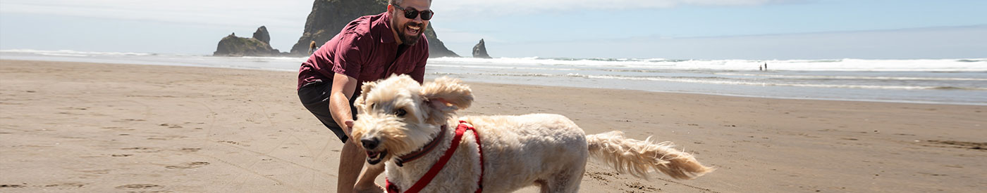 Man laughing and playing with dog at Haystack Rock, Cannon Beach, OR