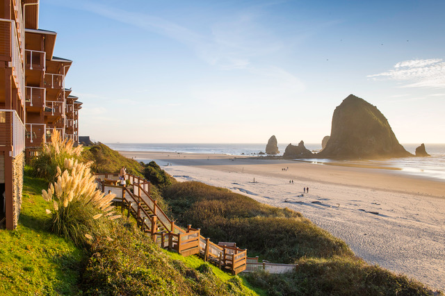 View of Haystack Rock as the sun sets from Hallmark Resort & Spa Cannon Beach