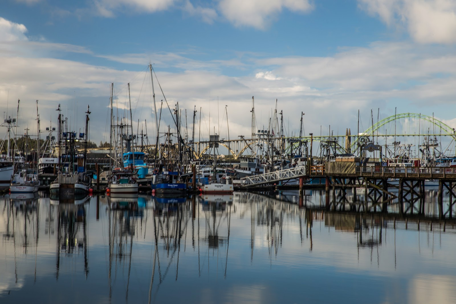 Fishing boats along the dock in Newport's Yaquina Bay