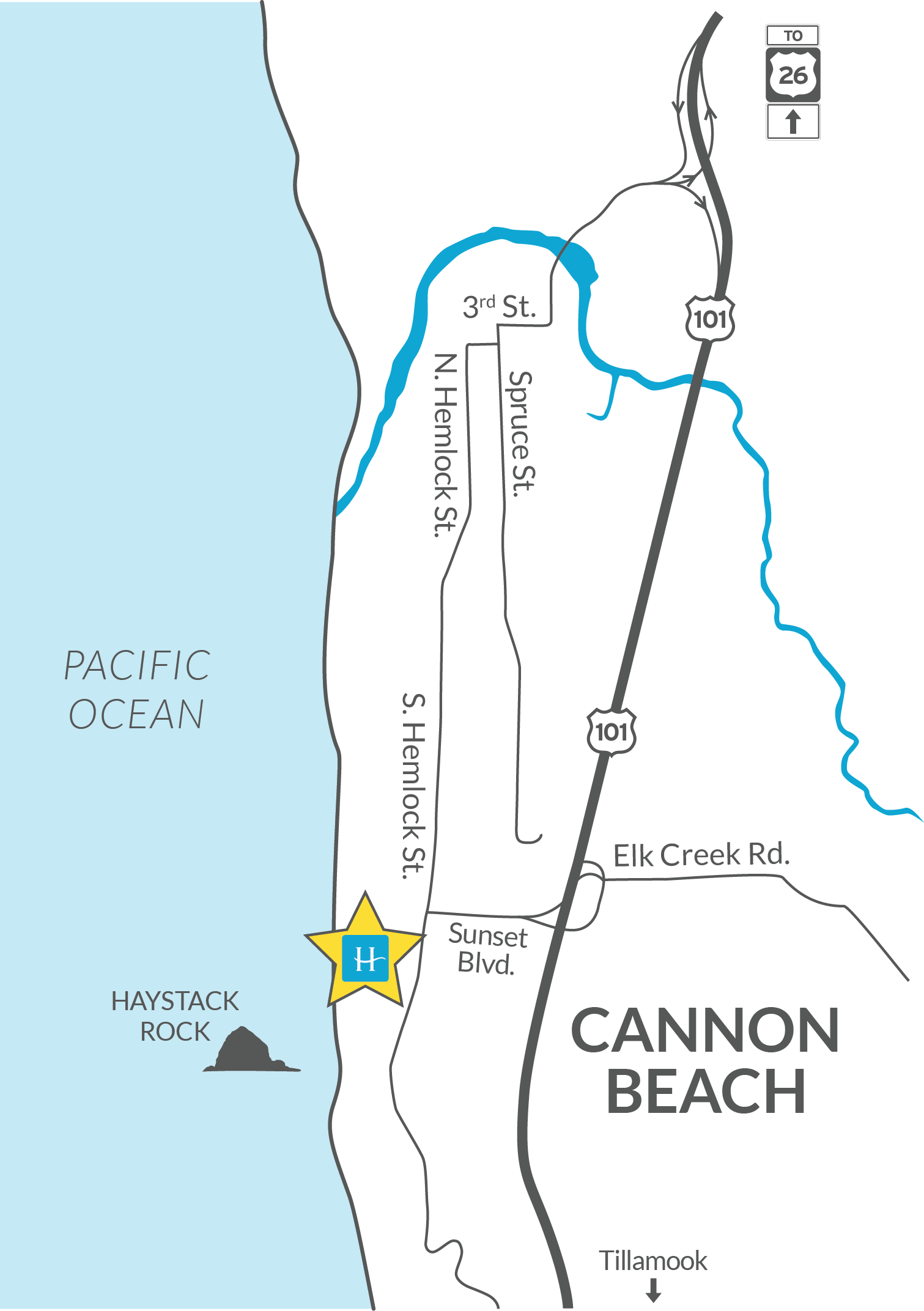 Hallmark Resort & Spa Cannon Beach Map