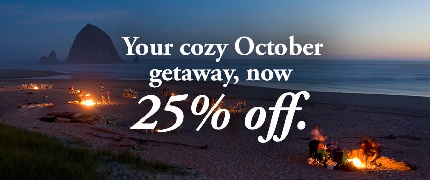 Your cozy October getaway, now 25% off